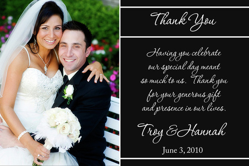 Wedding thank you cards with picture